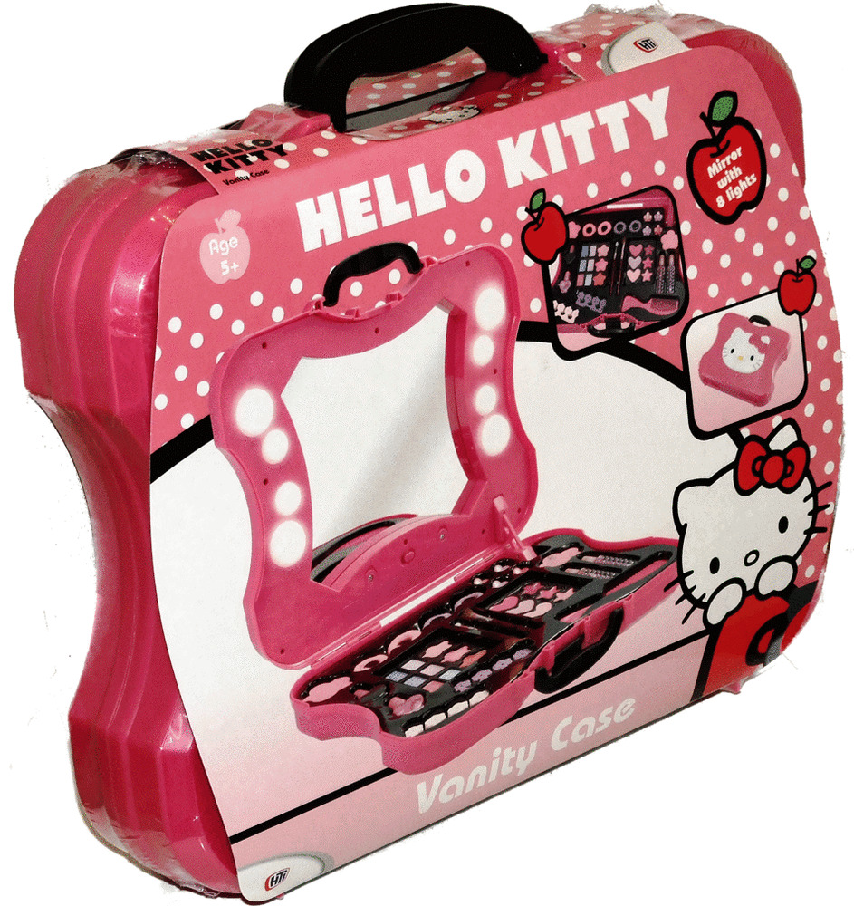 hello kitty vanity cosmetics make up case box set with mirror with lights girls ebay. Black Bedroom Furniture Sets. Home Design Ideas