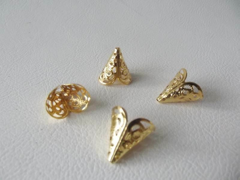 Bncbc gp gold plated filigree cone bead end caps ebay