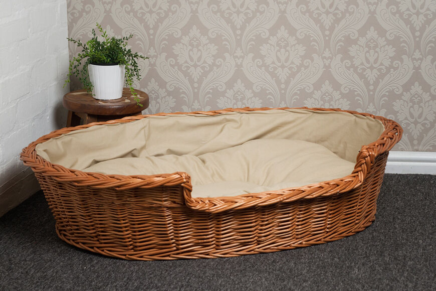 Extra Large Wicker Dog Bed Basket with Cushion No