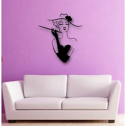 Wall Stickers Vinyl Decal Sexy Girl In Dress Hat Fashion Cool Decor ig545