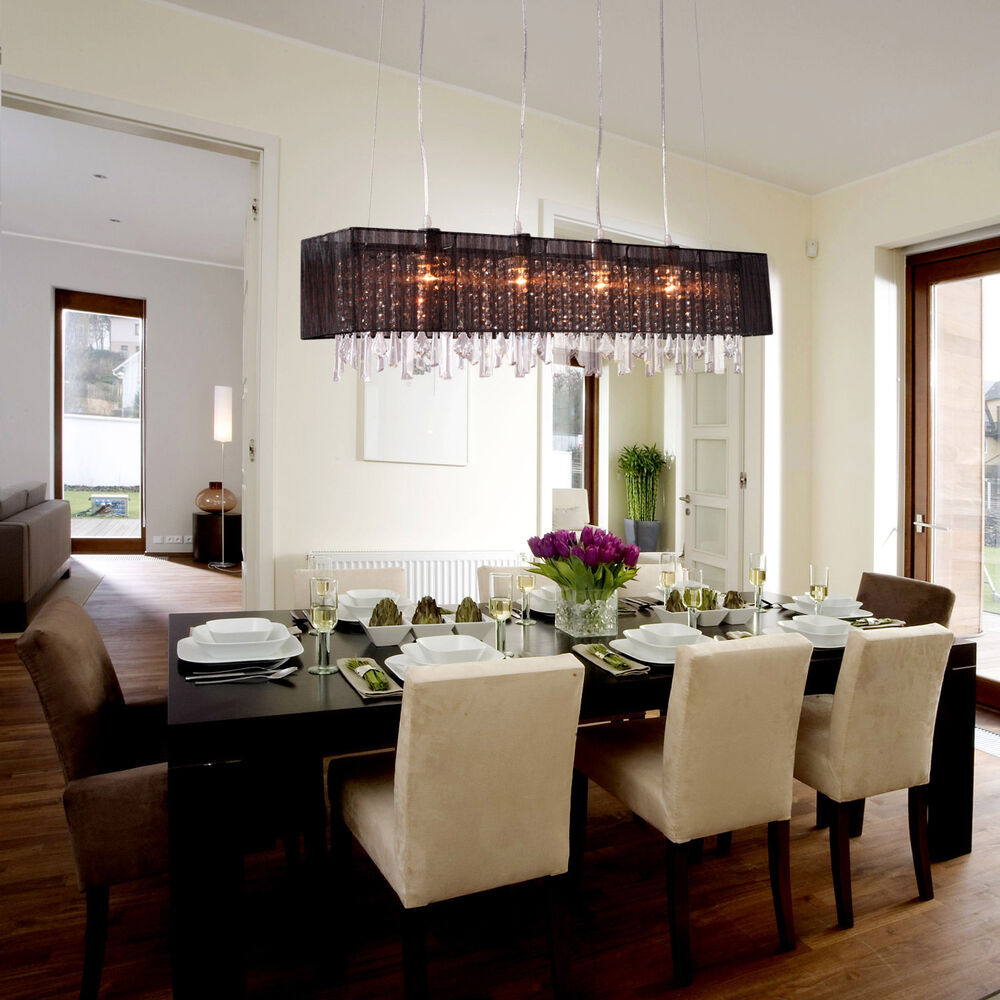 Modern crystal chandelier ceiling lamp pendant light fixture living room newly ebay - Modern light fixtures dining room ...