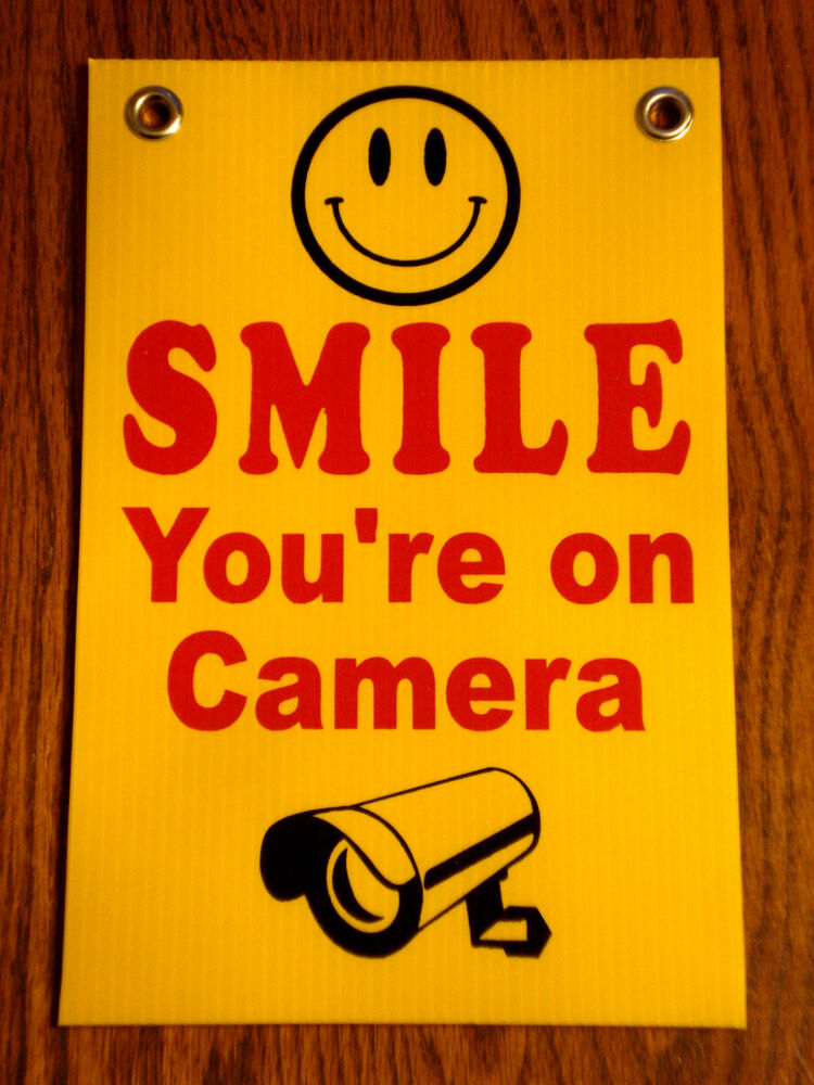 """You Re So Pretty: SMILE YOU'RE ON CAMERA SIGN 8""""x12"""" NEW With Grommets"""