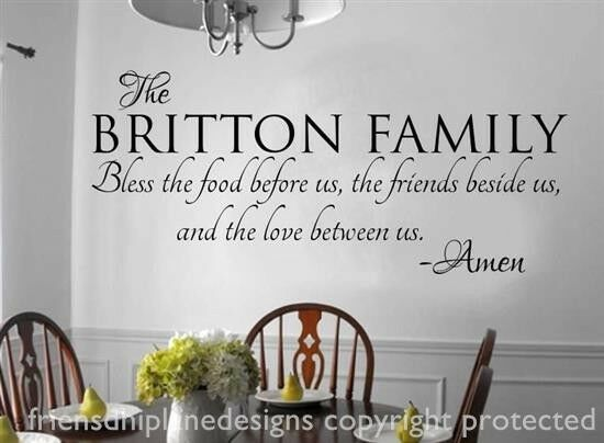 FAMILY NAME Bless The Food Before Us Vinyl Wall Decal