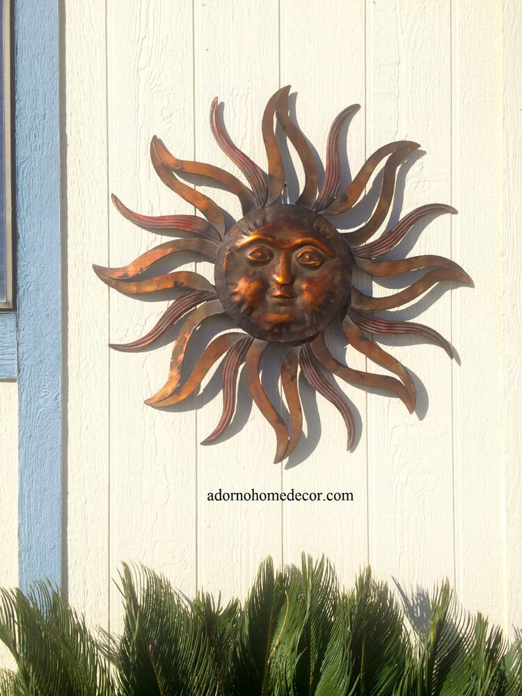 Large metal sun wall decor rustic garden art indoor for Outdoor metal wall art