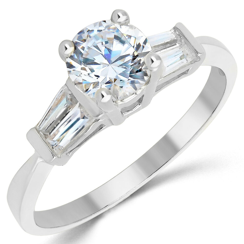 14K Solid White Gold CZ Cubic Zirconia Solitaire