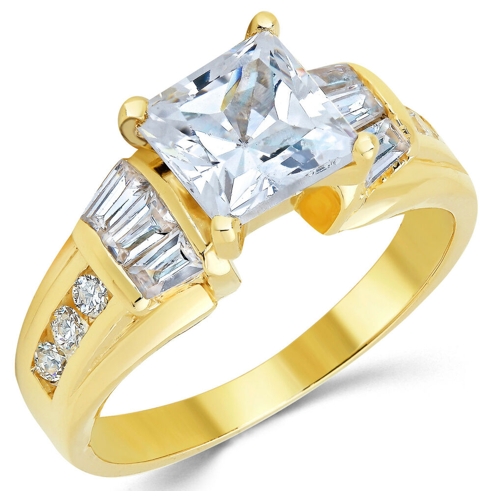 14k solid yellow gold cz cubic zirconia solitaire. Black Bedroom Furniture Sets. Home Design Ideas