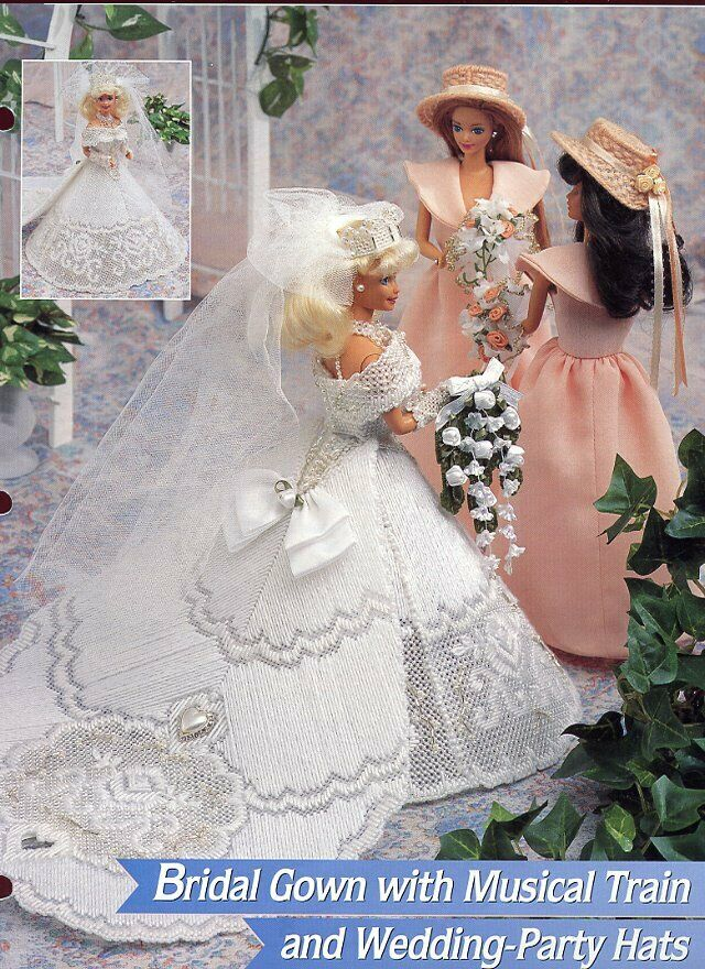 Bridal gown musical train for barbie doll plastic canvas for Paying for a wedding dress