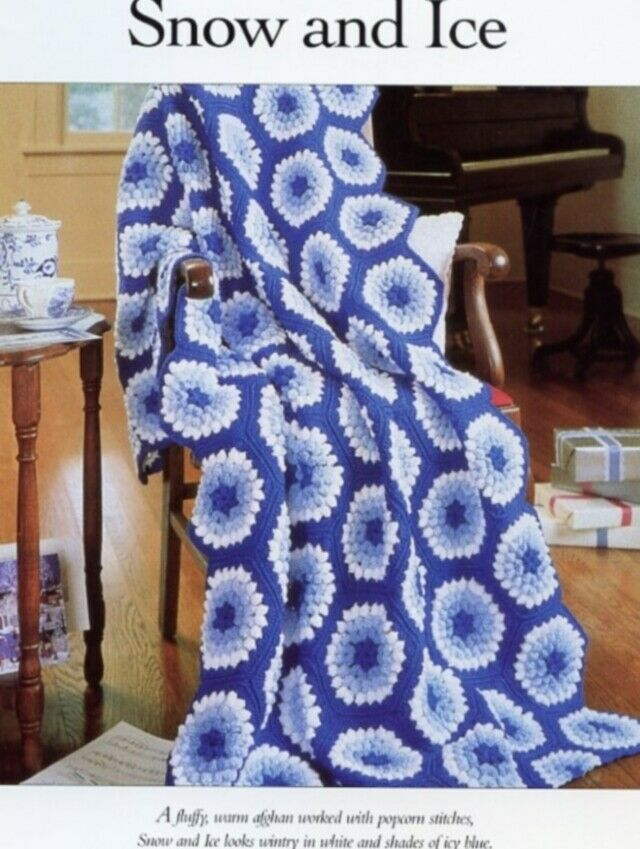 Snow and Ice Popcorn Stitch Afghan Vanna Crochet Pattern 30 Days To Shop &...