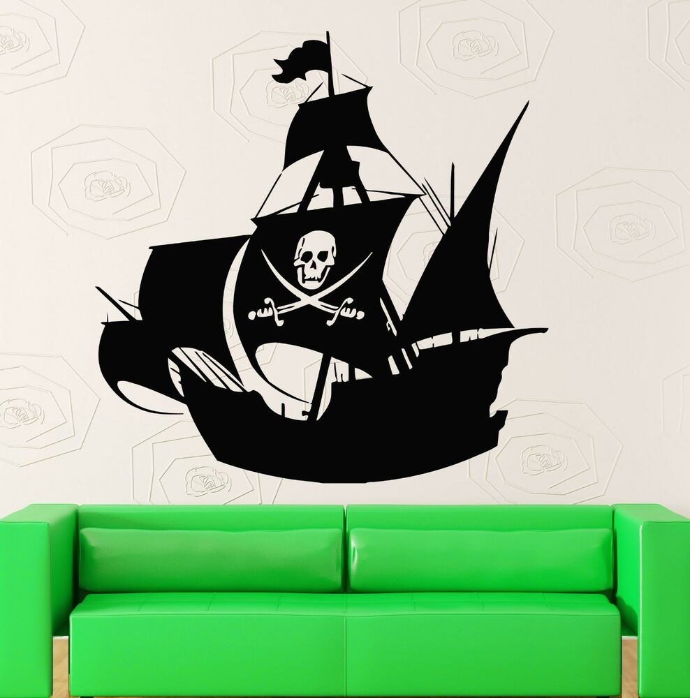 wall stickers vinyl decal for kids room pirate ship baby nursery ig516 ebay. Black Bedroom Furniture Sets. Home Design Ideas