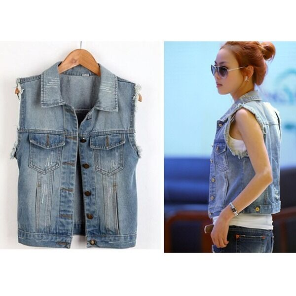 Fashion Lady Casual Sleeveless Denim Vest Button Down Jean Jacket