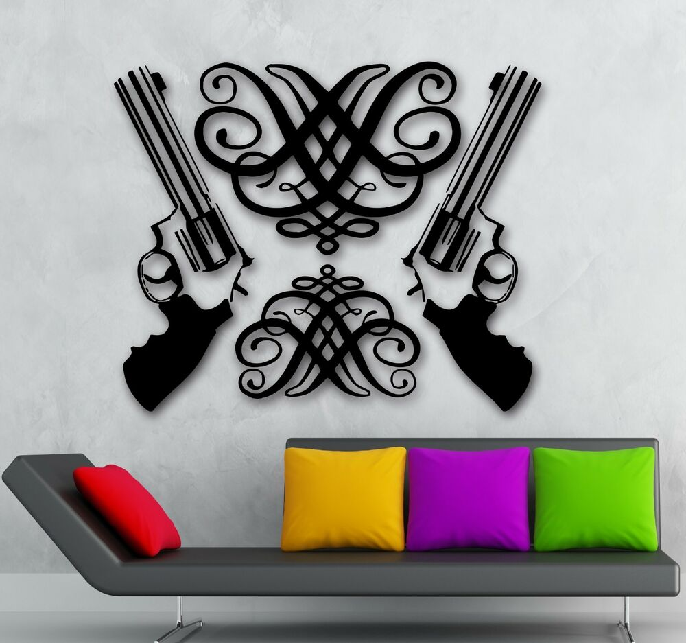 Gun Wall Stickers Vinyl Decal Revolver Weapons Great Room
