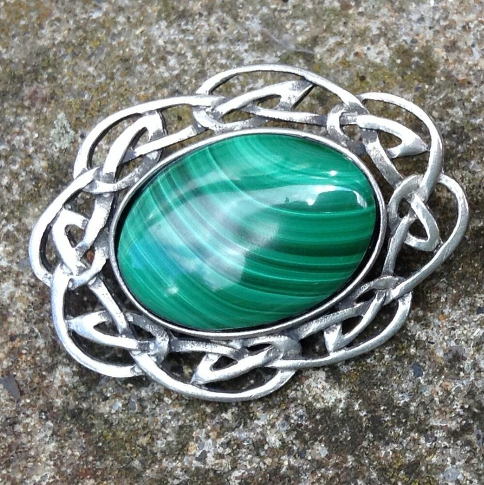Irish Celtic Malachite Pewter Brooch, Gemstone Jewellery. Chart Diamond. 4ct Wedding Rings. Baguette Infinity Band. Ladies Ankle Chains
