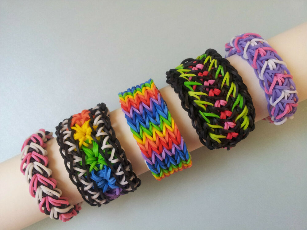 lot of 5 rainbow loom bracelets quadruple fishtail galaxy starburst etc ebay. Black Bedroom Furniture Sets. Home Design Ideas