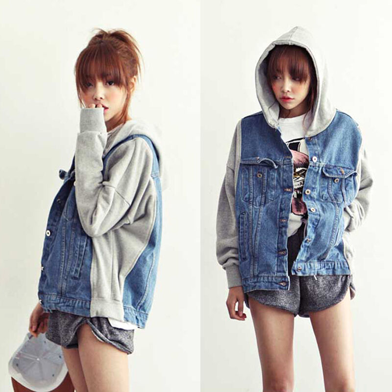 Korean Fashion Womens Casual Hoodie Denim Jacket Coat Hooded Outerwear S M L Ebay