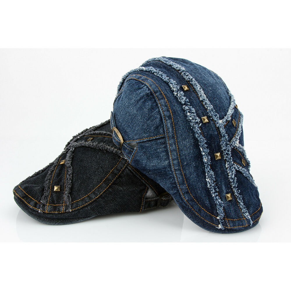 Menu0026#39;s Distressed Vintage Beret Jean Denim Newsboy Caps Cabbie Flat Ivy Hats | eBay
