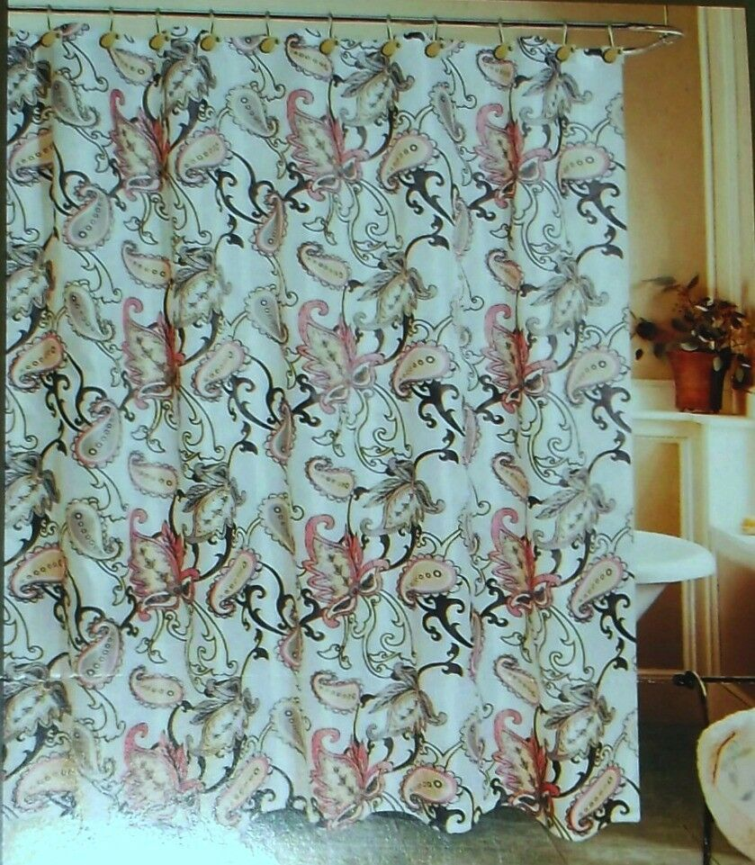 Paisley Print Fabric Shower Curtain Set W Matching Hooks