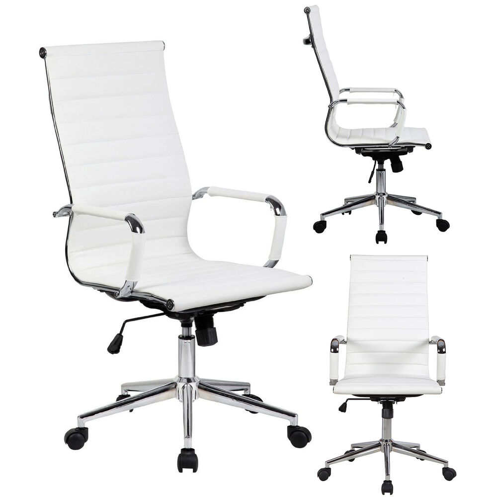 tall executive white pu leather ribbed office desk chair