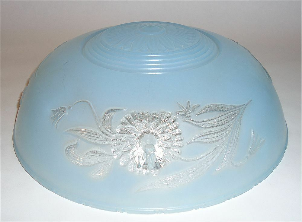 VINTAGE BLUE & CLEAR GLASS ART DECO CEILING LIGHT GLOBE
