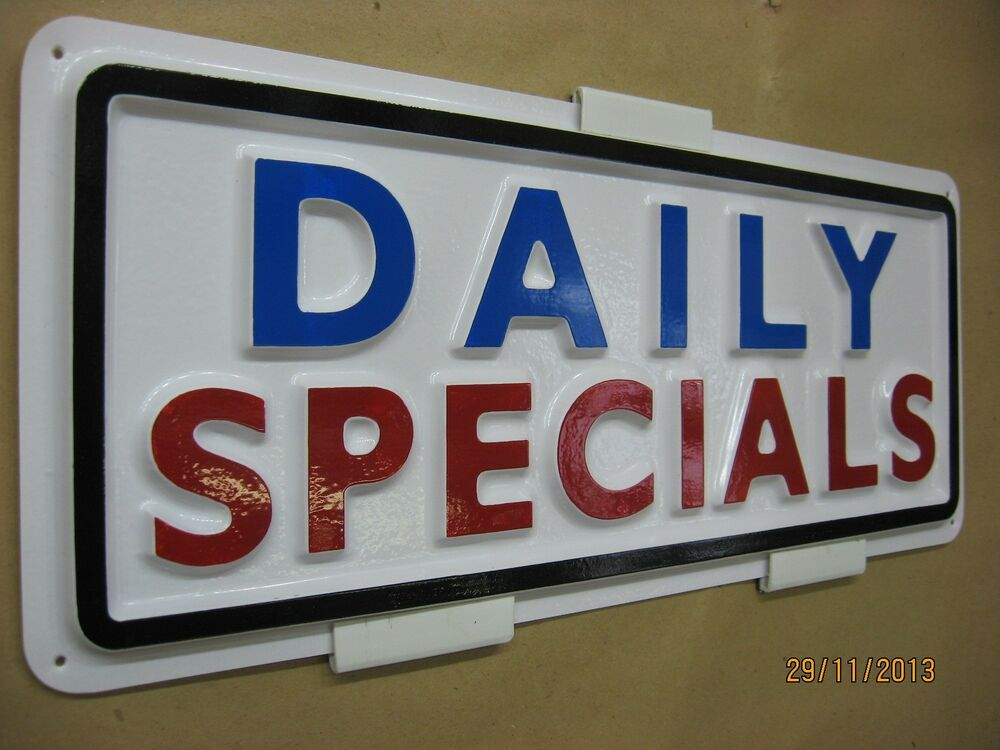 Daily Specials 3d Embossed Plastic Sign 5x13, High. Sportswear Nike Banners. Orthography Lettering. Hogwarts Student Signs. Fishing Company Stickers. Dermatoglyphics Signs. Label Printing Companies. Line Decals. Independence Day Stickers