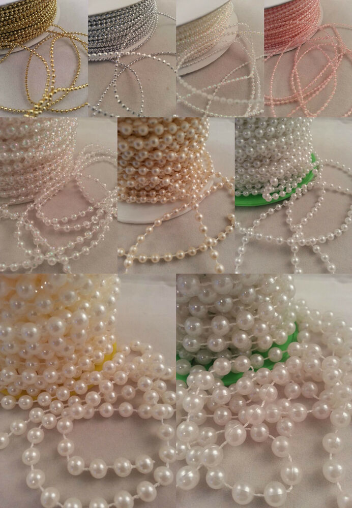 Pearls Cut Lengths String Beads Sewing Trim Cake Craft