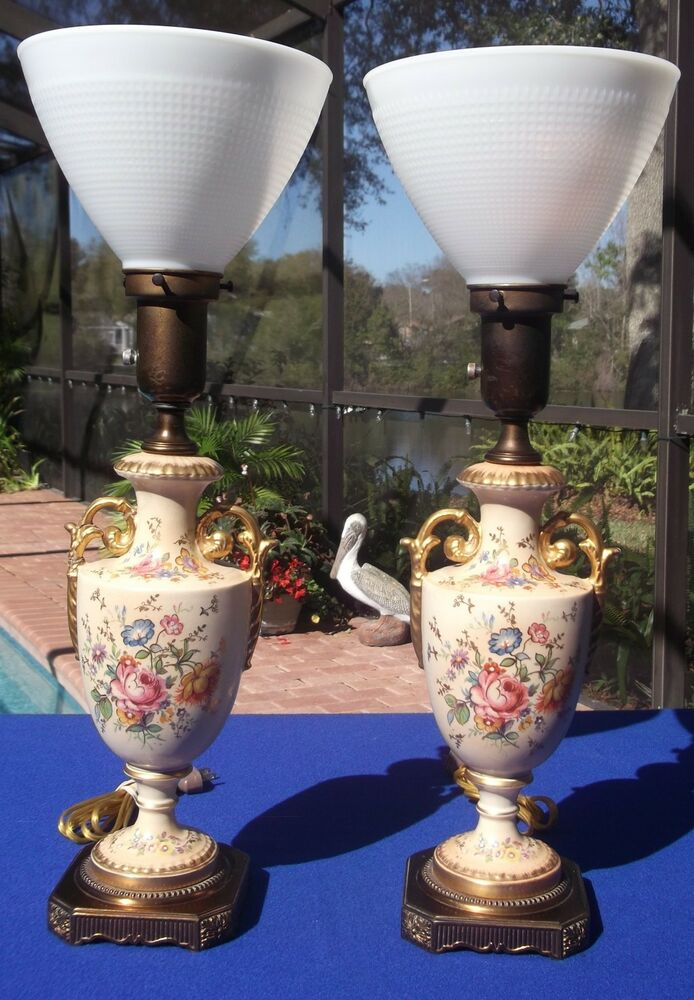Pair Antique Brass Porcelain Table Lamps W Glass Shades Ebay