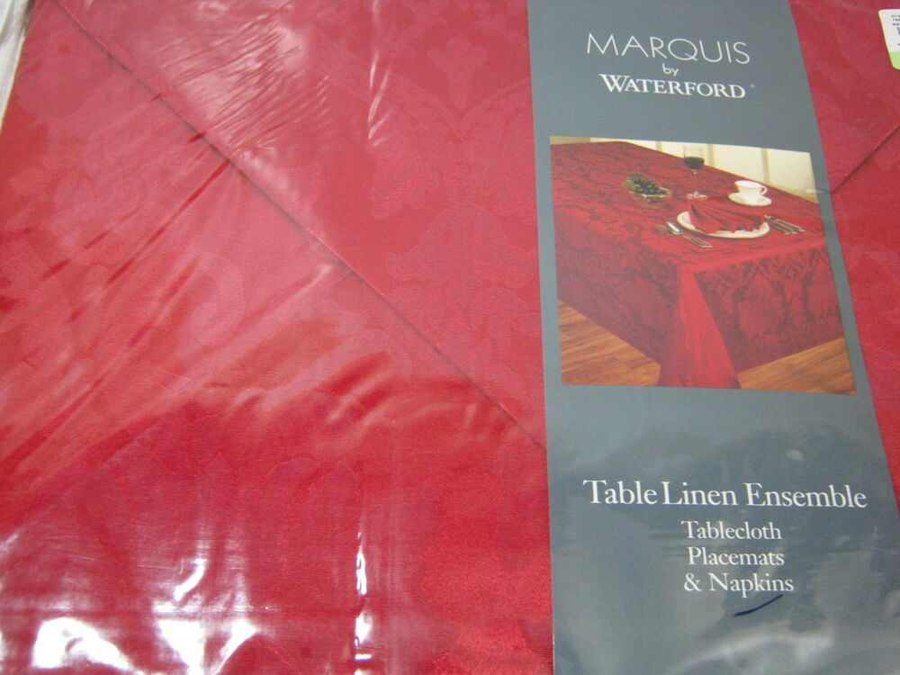 21 Pcs Marquis Waterford Vincente Red Tablecloth 60x118 Napkins Amp Placemats Set Ebay