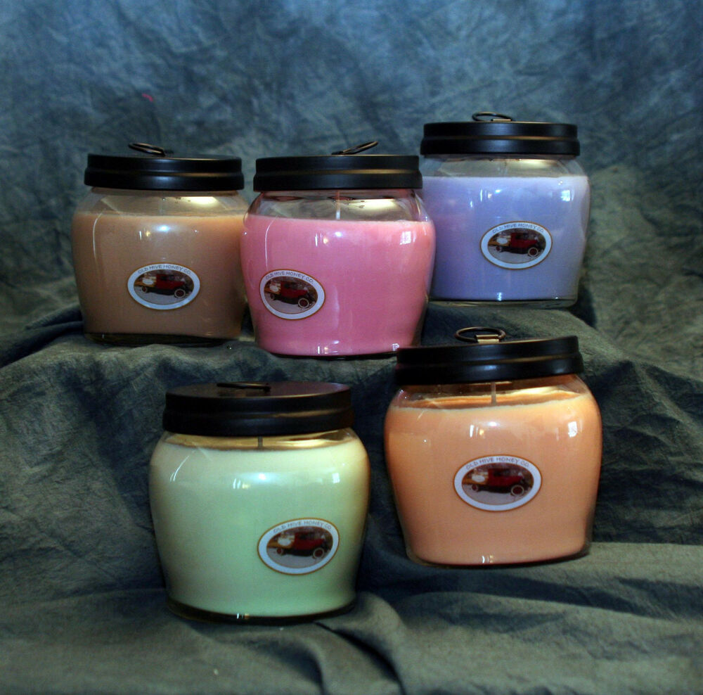 FOUR SOY CANDLE SCENTED CANDLES 16 OZ CLEAN HANDMADE JAR