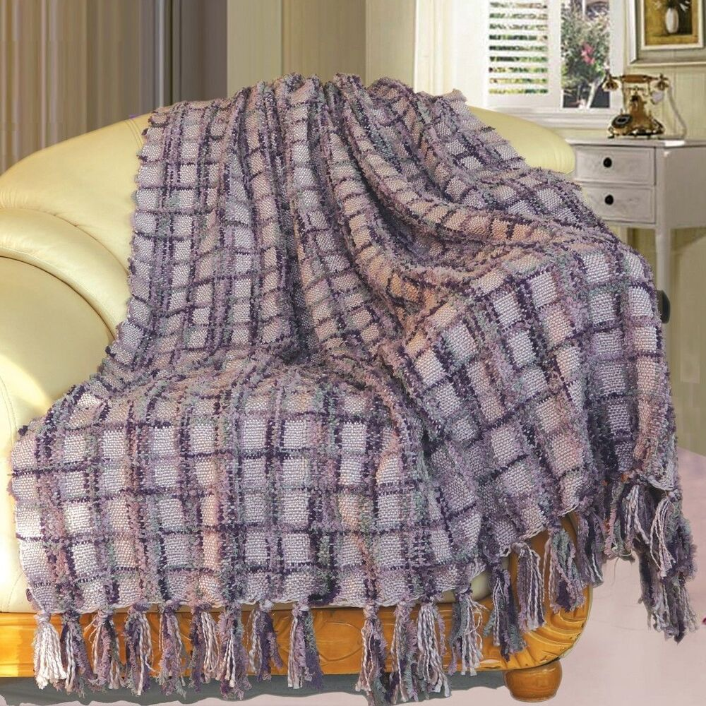 Boon multi color chenille couch throw blanket light weight warm decor 50 x 60 ebay - Spots of color in the bedroom linens and throws ...