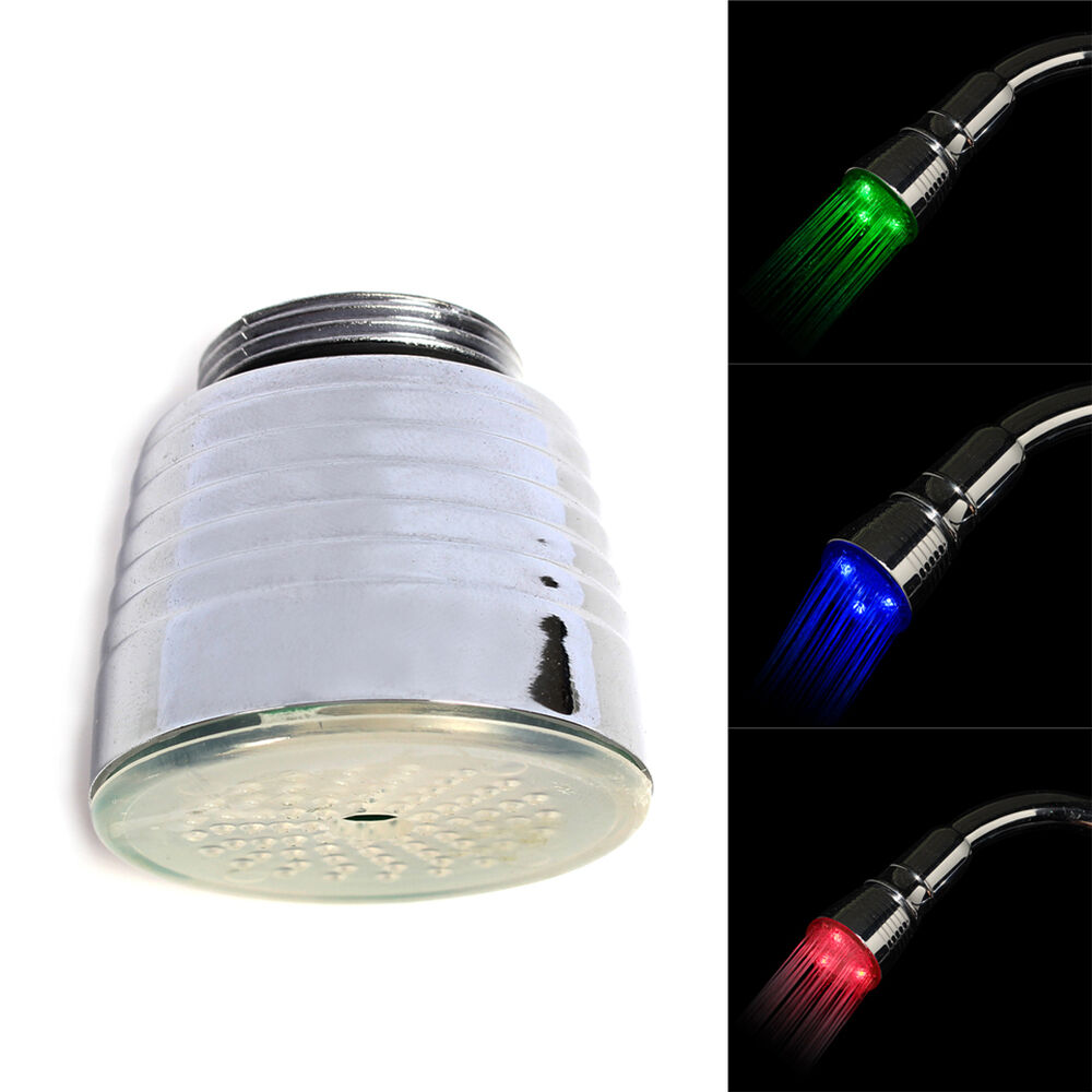 Bathroom Light Temperature: Water Powered 3 Color Bath LED Light Tap Faucet