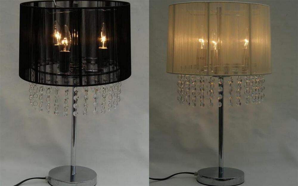 21 Quot Crystal Chandelier Silver Finish Table Lamp Black Or