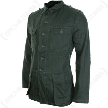 img-German Army Summer HBT DRILL JACKET All Sizes WW2 Repro Reed Green Combat Tunic