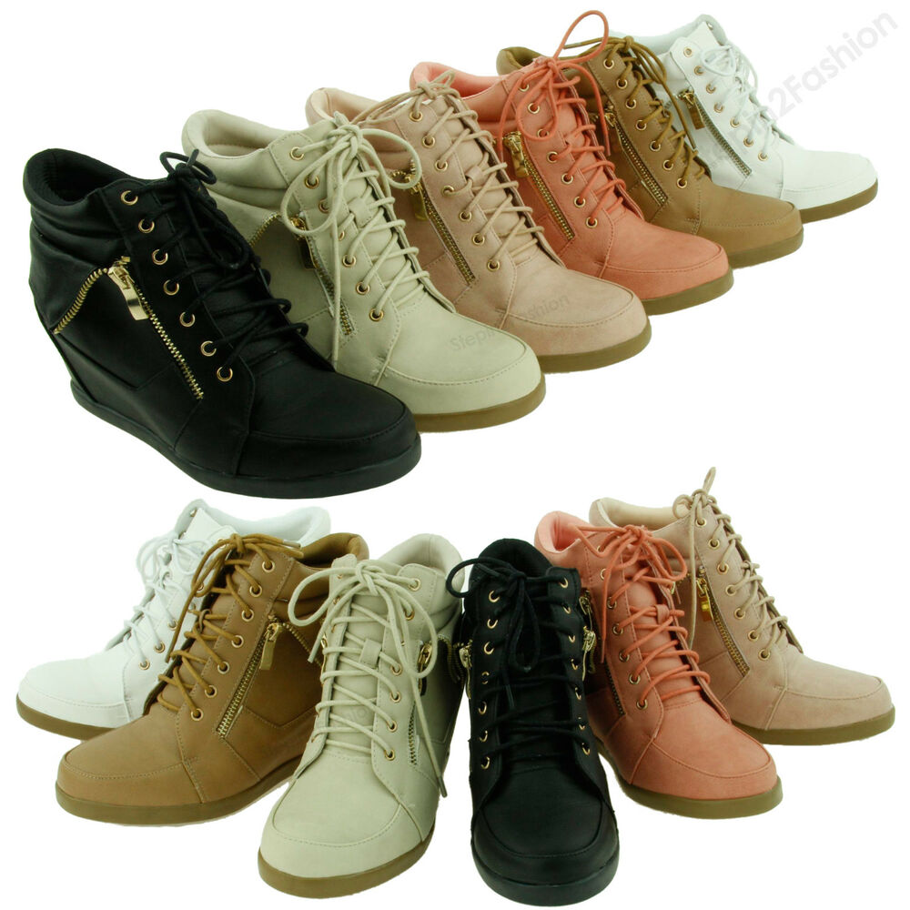 womens high fashion wedge heel shoes lace up high top