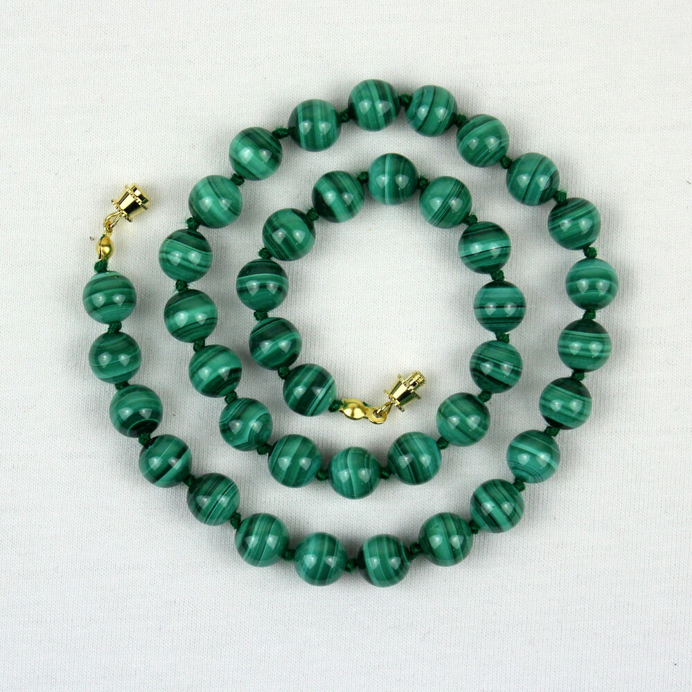 malachite necklace 8mm malakite various lengths