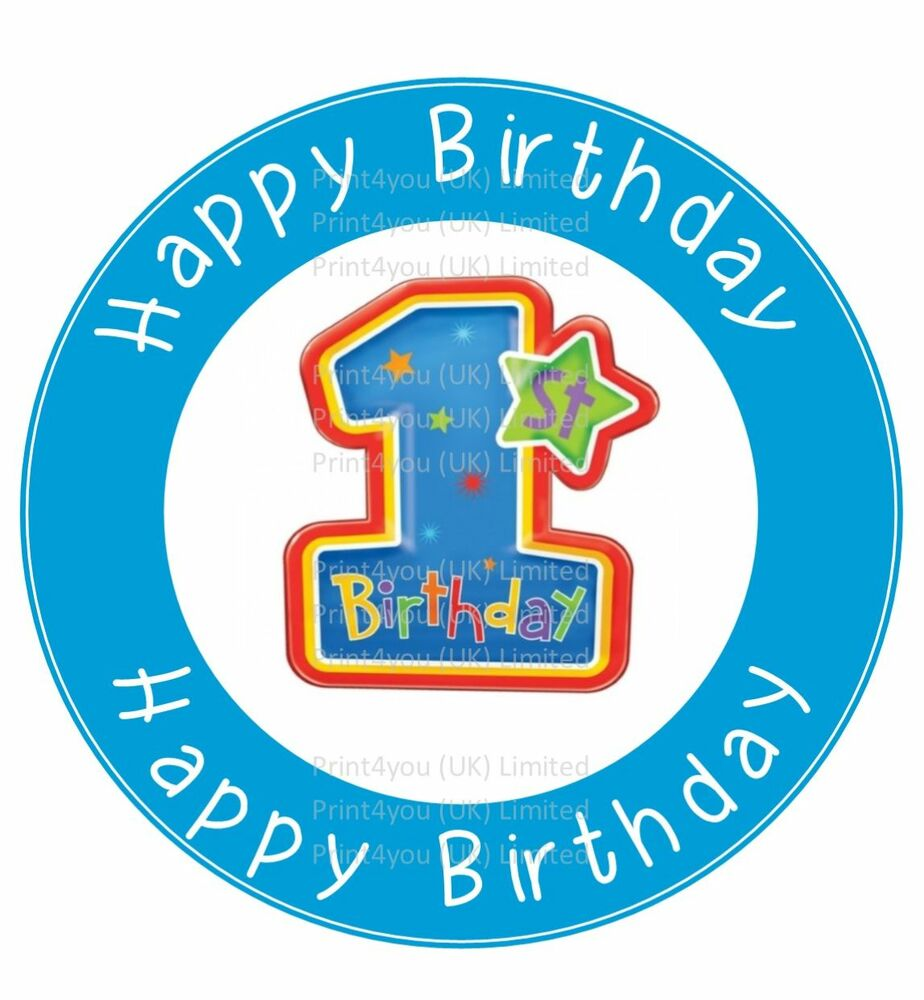 Creative Converting 1st Birthday Boy Cake Topper Blue: 24 Edible Cake Toppers Decorations Cute Blue Boys Happy