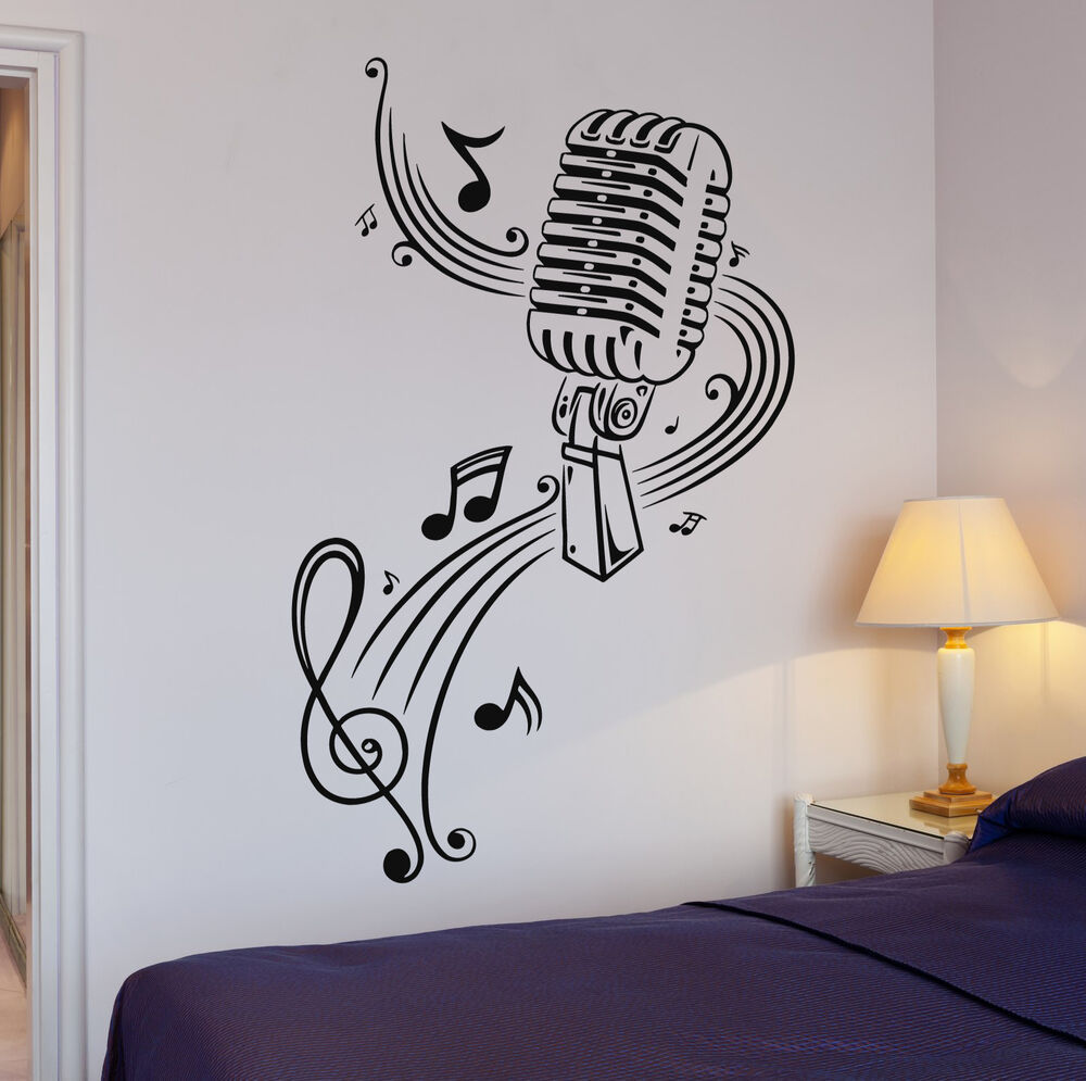 Vinyl Decal Music Karaoke Microphone Sheet Great Decor Wall Stickers Ig377 682017269412 Ebay