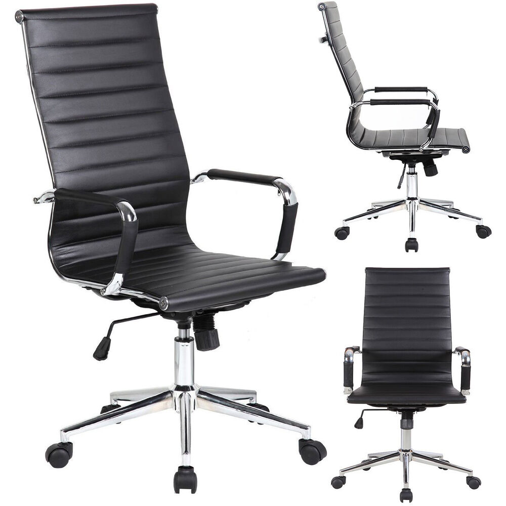 New tall executive black pu leather ribbed office desk for Modern leather office chairs