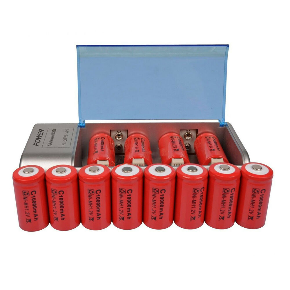 12x c size 10000mah 1 2v red rechargeable battery cell aa aaa 9v c d charger ebay. Black Bedroom Furniture Sets. Home Design Ideas