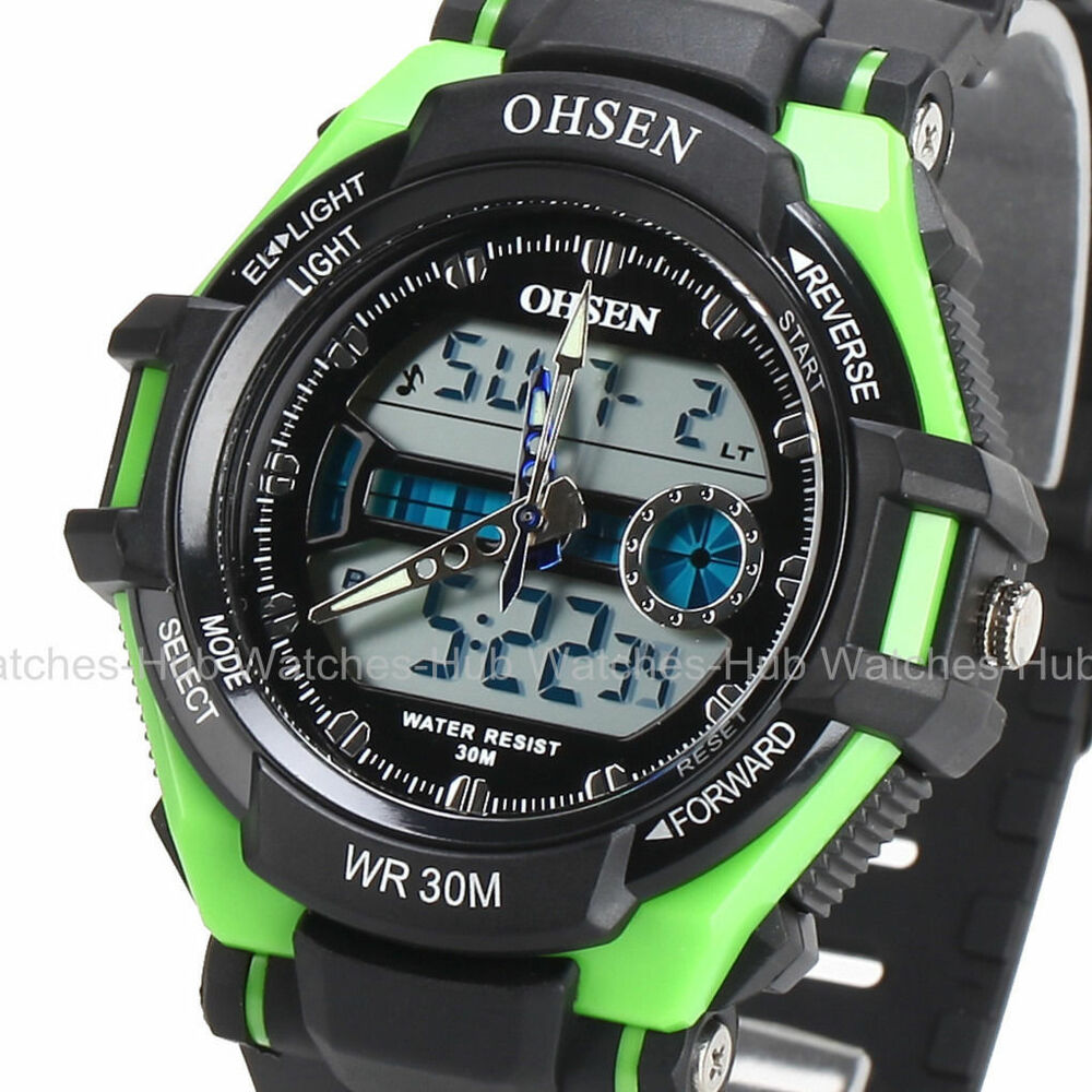 ohsen fashion waterproof digital lcd alarm date mens military sport analog watch ebay