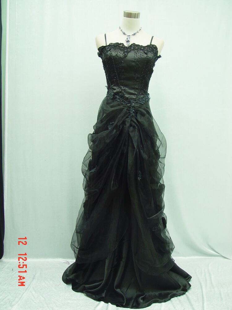 Cherlone satin black lace long wedding evening ball gown for Black formal dress for wedding