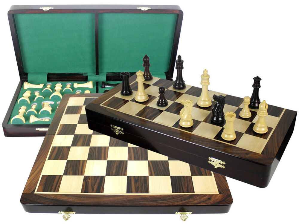 Rosewood Folding Chess Board 20 Imperial Staunton 4