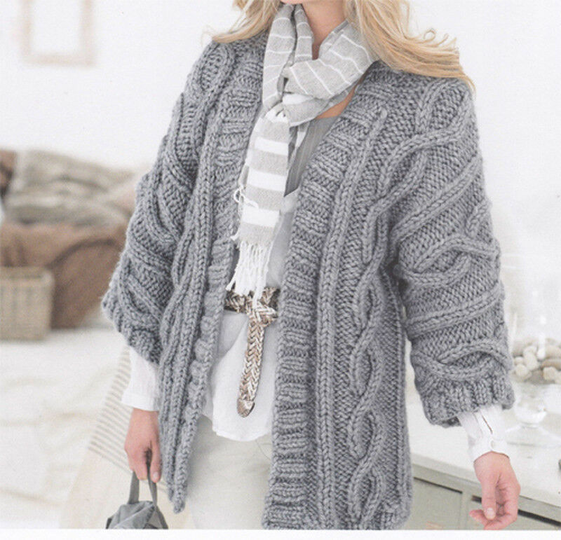 Beautiful ladies super Chunky cable Jacket Knitting pattern- fits 32-42 chest...