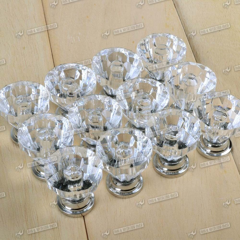 Crystal Knobs Kitchen Cabinets: 12x Crystal Glass Door Knobs Drawer Cabinet Furniture