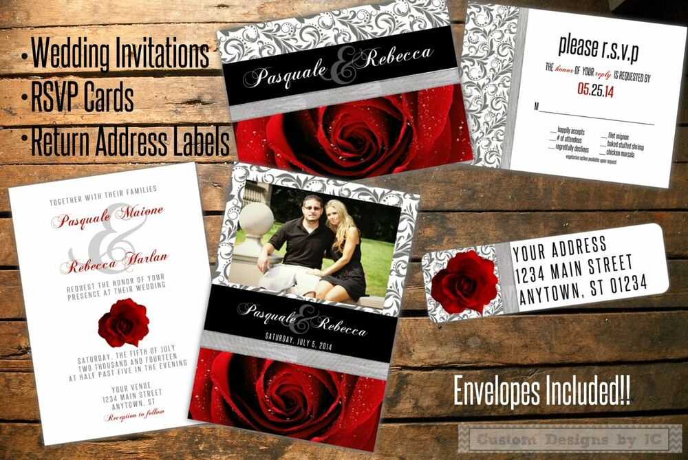 Custom Wedding Invitations, RSVP Cards And Return Address