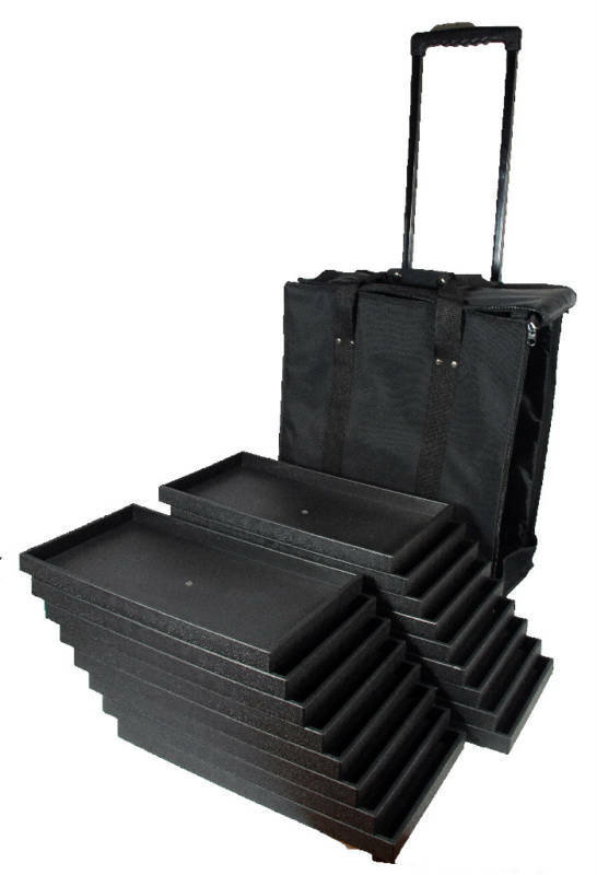 Canvas Rolling Salesman Travel Case With 17 Wood Sample