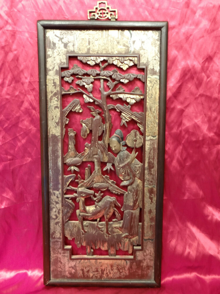 Art Deco Oriental Wood Carved Panel Plaque Of Lady With
