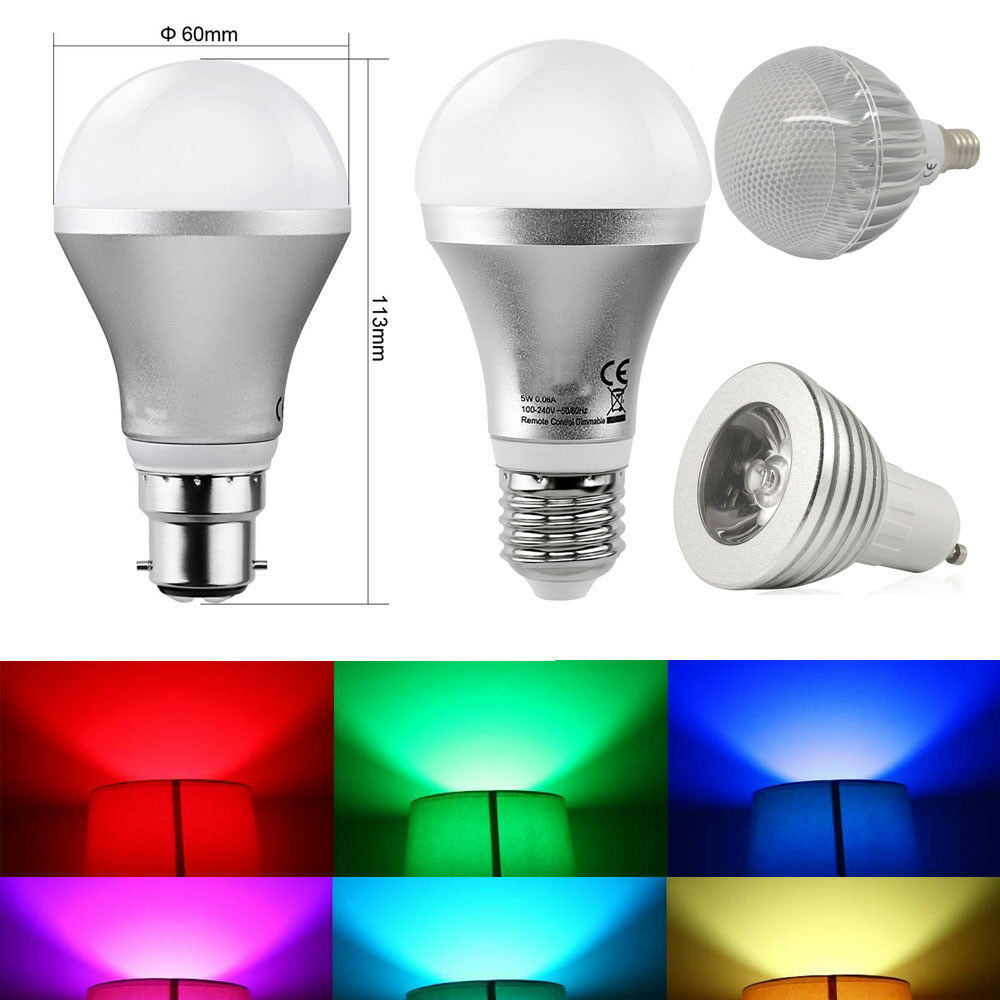 E27 B22 Rgb 5w Colour Changing Dimmable Led Bulb Light Lamp Free Remote Control Ebay