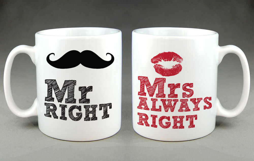 bride groom mr right and mrs always right mugs valentines. Black Bedroom Furniture Sets. Home Design Ideas