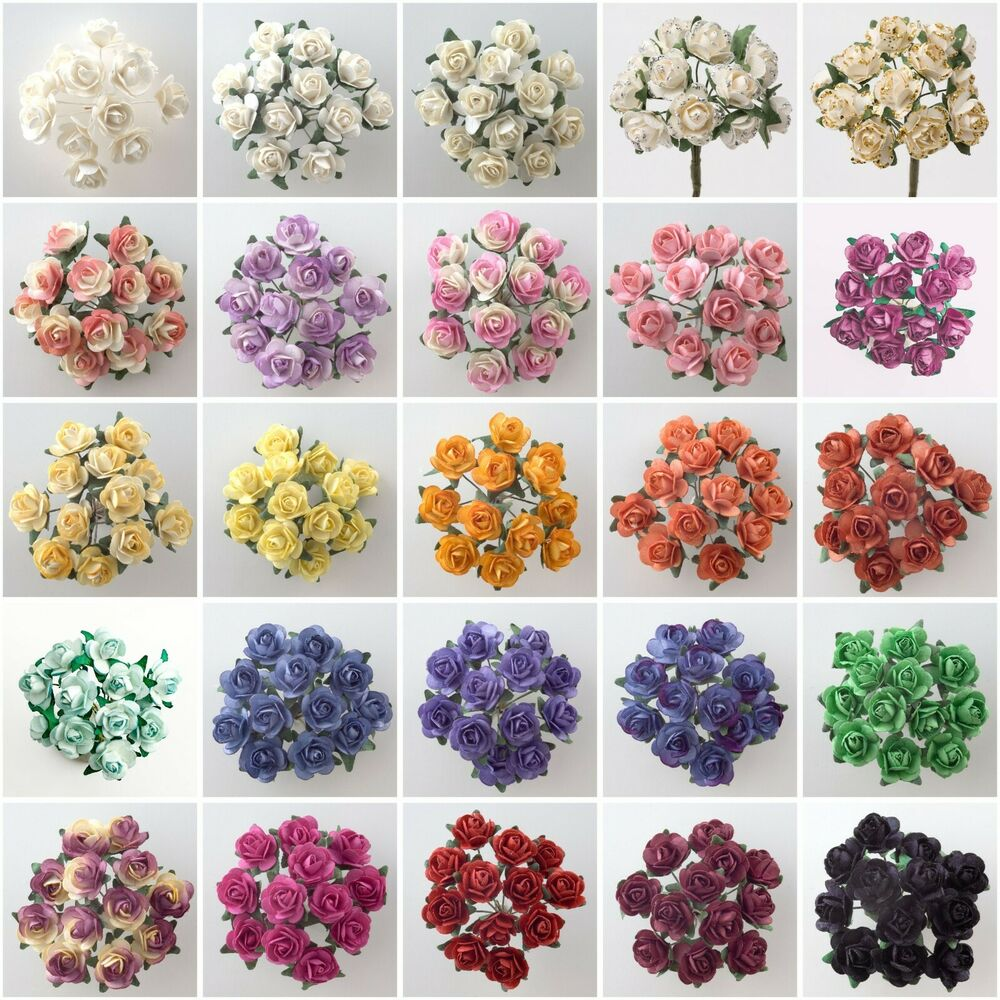 Small paper flowers craft - Miniature Mulberry Paper Tea Rose Flower Cards Favours Crafts Embellishment Ebay