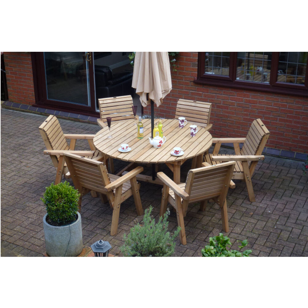 Wooden garden furniture round table 6 high back chairs for Wooden garden furniture