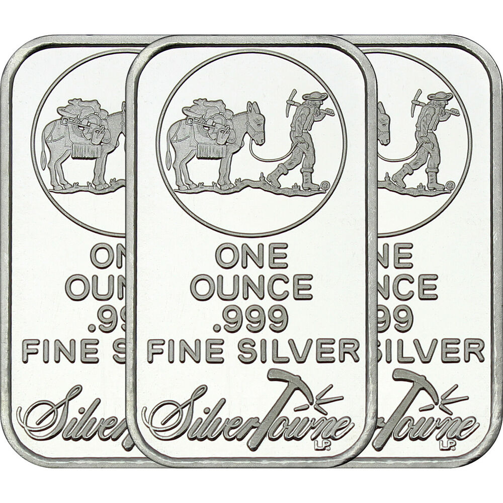 Silvertowne Logo 1oz 999 Fine Silver Bar Lot Of 3 Ebay